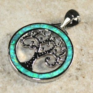 Jewelry - Green Fire Opal Family Tree of Life Pendant